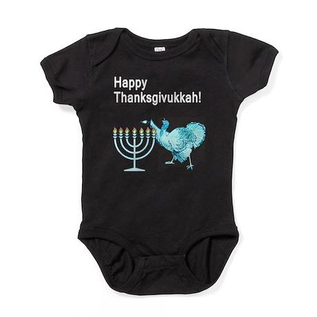 Happy Thanksgivukkah 1 dark Baby Bodysuit