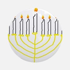 one of a kind hand drawn menorah Ornament (Round)