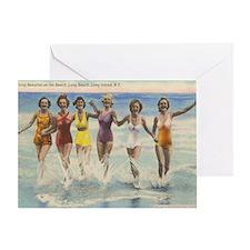 Vintage Long Island Beach Bathing Be Greeting Card