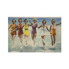 Vintage Long Island Beach Bathing Rectangle Magnet