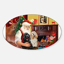 Santa's 2 Cockers Rectangle Decal