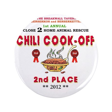"""CHILI COOK-OFF 2nd PLACE PRIZE 3.5"""" Button"""