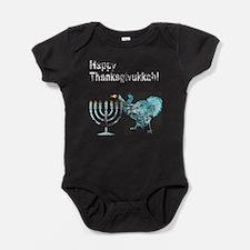 Vintage Happy Thanksgivukkah 1 dark Baby Bodysuit