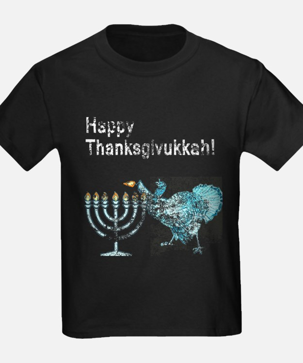 Vintage Happy Thanksgivukkah 1 dark T-Shirt