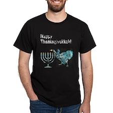 Vintage Happy Thanksgivukkah 1 dark T-Shirt