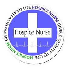 Hospice Nurse giving quality life Round Car Magnet
