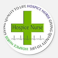 hospice nurse giving qulaity life Round Car Magnet