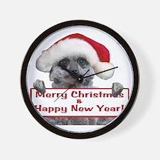 Christmas Meerkat Wall Clock