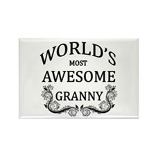 World's Most Awesome Granny Rectangle Magnet