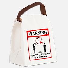 Warning! I am silently correcting Canvas Lunch Bag