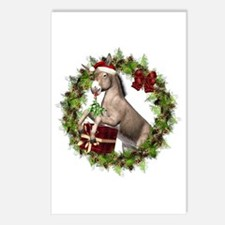 Donkey Santa Hat Inside Postcards (package Of 8)