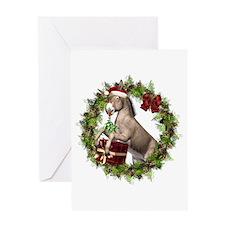 Donkey Santa Hat Inside Wreath Greeting Card