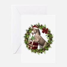 Donkey Santa Hat Inside Wreath Greeting Card