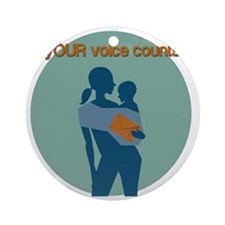 Your Voice Counts Round Ornament