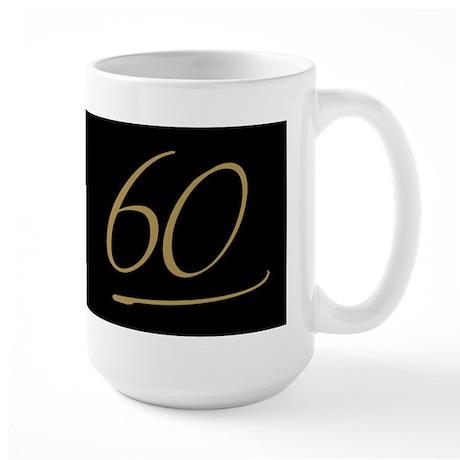 Black & Gold 60th Birthday Large Mug