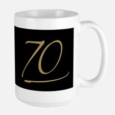 Black & Gold 70th Birthday Large Mug