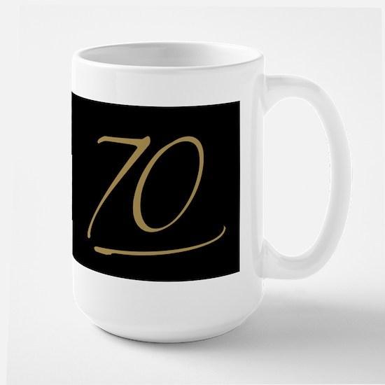 Black & Gold 70th Birthday Large Mug