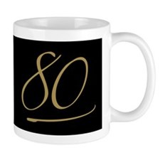 Black & Gold 80th Birthday Mug