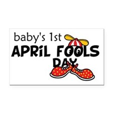 Babys 1st April Fools Day Rectangle Car Magnet