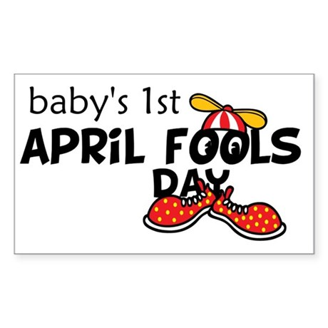 Babys 1st April Fools Day Sticker (Rectangle)
