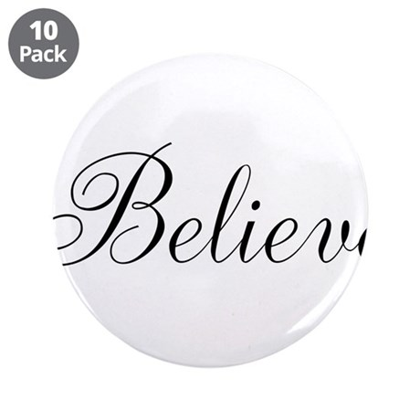"""Believe Inspirational Word 3.5"""" Button (10 pack)"""