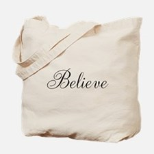 Believe Inspirational Word Tote Bag