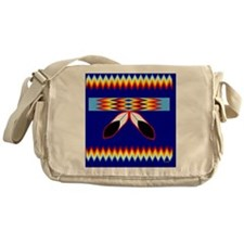 NATIVE AMERICAN BEADED STRIP Messenger Bag