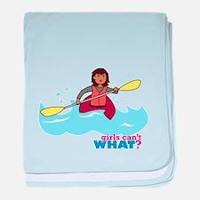Girl Kayaking baby blanket