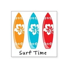 "Surf Time Square Sticker 3"" x 3"""
