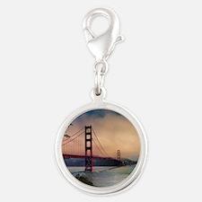 Golden Gate Bridge Silver Round Charm