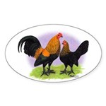 Brown Red OE Bantams Oval Sticker