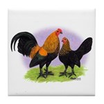 Brown Red OE Bantams Tile Coaster