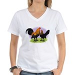 Brown Red OE Bantams Women's V-Neck T-Shirt
