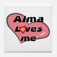 alma loves me  Tile Coaster