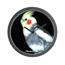 GRAY AND WHITE COCKATIEL Wall Clock