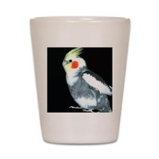 GRAY AND WHITE COCKATIEL Shot Glass