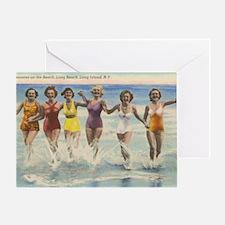 Vintage Long Island Beach Postcard Greeting Card
