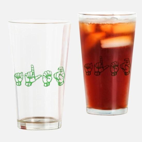 Alex -green in ASL Drinking Glass