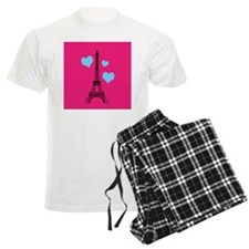 Pink and Turquoise Eiffel Tower Pajamas