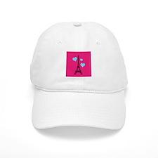 Pink and Turquoise Eiffel Tower Baseball Baseball Cap