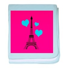 Pink and Turquoise Eiffel Tower baby blanket