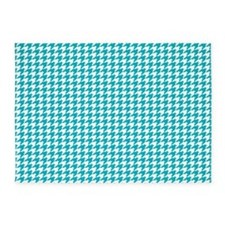 Houndstooth in Turquoise and White 5'x7'Area Rug