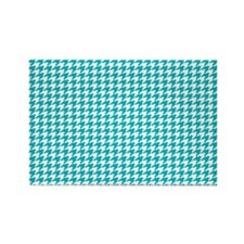 Houndstooth in Turquoise and Whit Rectangle Magnet