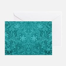 Leather Floral Turquoise Greeting Card