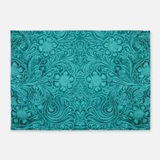 Leather Floral Turquoise 5'x7'Area Rug