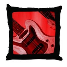 Bold Red Guitar Throw Pillow