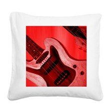 Bold Red Guitar Square Canvas Pillow