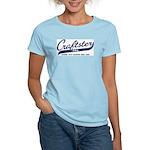 Blue Script Women's Pink T-Shirt