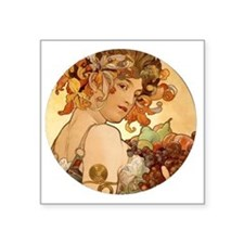 "round mucha Square Sticker 3"" x 3"""