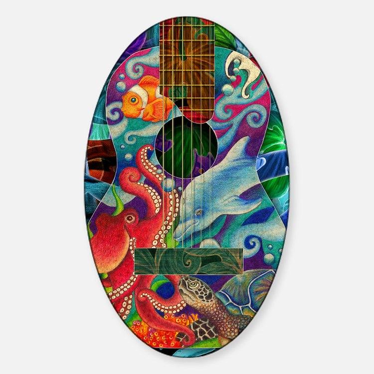 Ocean guitar Sticker (Oval)
